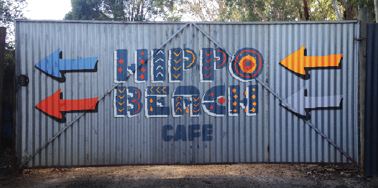 Hippo Beach Cafe sign